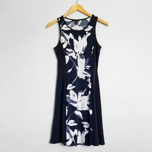 BANANA REPUBLIC Navy Blue Floral Sleeveless Dress